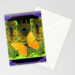 GREY-PURPLE ART NOUVEAU PEACOCK BUTTERFLY Stationery Cards