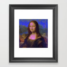 Mona Lisa's Haze (blue) Framed Art Print
