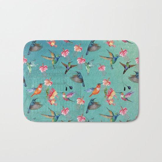 Vintage Watercolor hummingbirds and fuchsia flowers Bath Mat