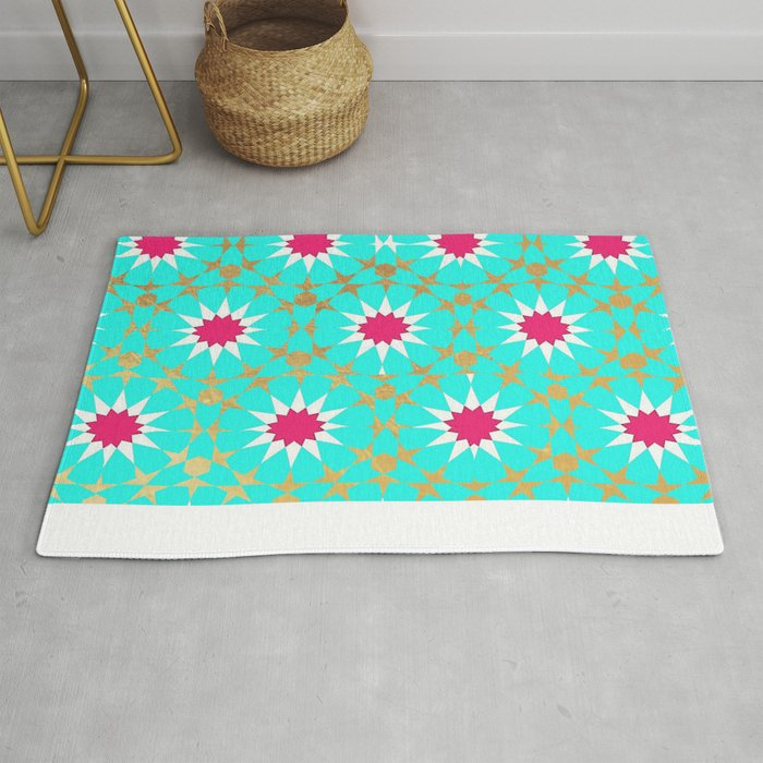 Teal Moroccan Patterns Rug