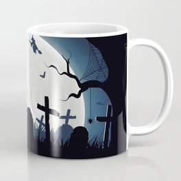 Creepy Halloween Witches On Broomsticks Flying Above Cemetery At Full Moon Ultra HD Coffee Mug