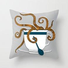 Octopus in a Teacup Throw Pillow