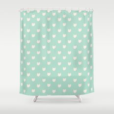 Cute dainty mint cats pattern Shower Curtain