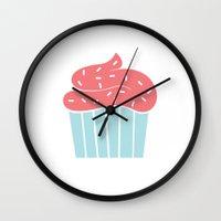 cupcake Wall Clocks featuring Cupcake by Elaine Stephenson Art