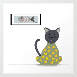 Cat in a Onesie Art Print