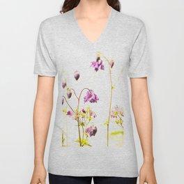 Purple Columbine Flower White Background #decor #society6 #buyart Unisex V-Neck