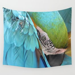Tropical Bird Parrot Macaw Portrait Closeup Wall Tapestry