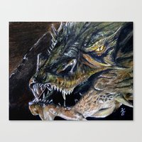 smaug Canvas Prints featuring Smaug by Kait Evensen Art