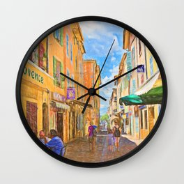 Medieval street in Provence Wall Clock
