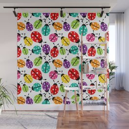 Lots of Crayon Colored Ladybugs Wall Mural