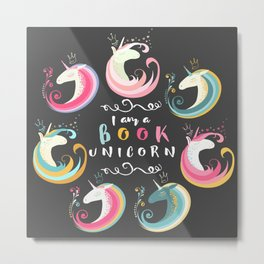 Book Unicorn Metal Print