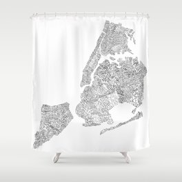 New York City Boroughs - Hand lettered map Shower Curtain