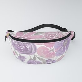 Pink Purple Light Sage Green Floral Watercolor Fanny Pack