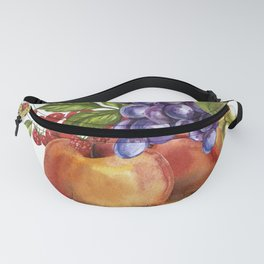 Composition of realistic fruits on a white background in vintage style. Peaches, raspberries, red cu Fanny Pack