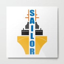 Sailor emblem with ship in beautiful design Fashion Modern Style Metal Print