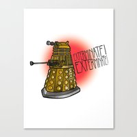 dalek Canvas Prints featuring Dalek by Caragh Brooks