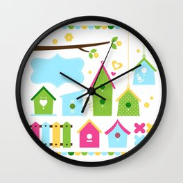 Beautiful colorful spring bird houses Wall Clock
