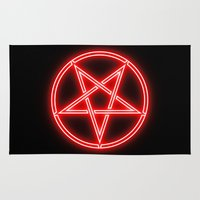 pentagram Area & Throw Rugs featuring Bright Neon Red Pentagram by PodArtist