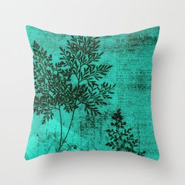 Botanical Turquoise Throw Pillow