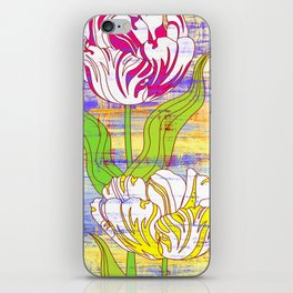 Colorful flower pattern, tulips print iPhone Skin