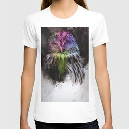 Abstract colorful owl T-shirt