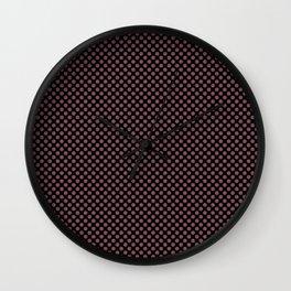 Black and Crushed Berry Polka Dots Wall Clock
