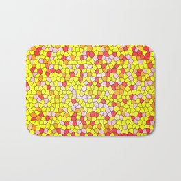 Stain Glass of Orange, Yellow, Red and Pink Joy Bath Mat