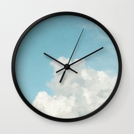 Summer Sky 3 - Fluffy White Clouds and Blue Sky Wall Clock