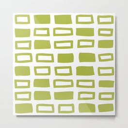 Mid Century Modern Abstract Squares Pattern 442 Green Metal Print