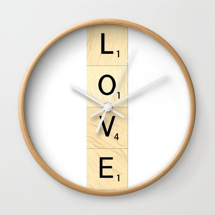 LOVE - Vertical Scrabble Letter Tiles Art Wall Clock by ekphotoart ...