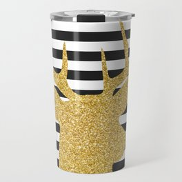 Gold Deer Black and White Stripes Travel Mug