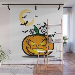 Halloween Pumpkin And Bats Fly In Moonlight Wall Mural