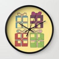 gift card Wall Clocks featuring Gift by Robert Leyen