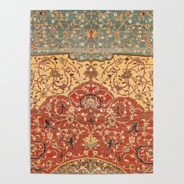 Flowery Vines I // 16th Century Contemporary Red Blue Yellow Colorful Ornate Accent Rug Pattern Poster