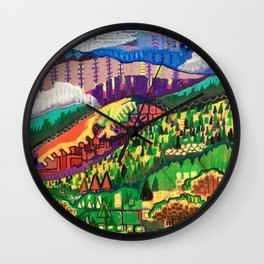 Fog in the Mountains Wall Clock