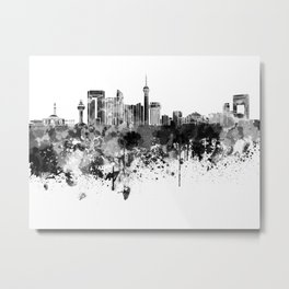 Jeddah skyline in black watercolor Metal Print