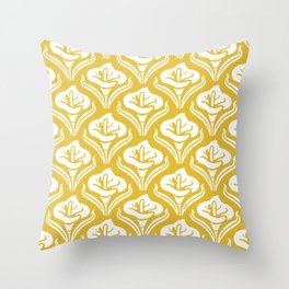 Calla Lily Pattern Mustard Yellow Throw Pillow