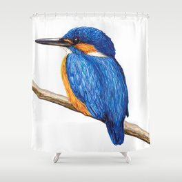 Kingfisher by Lars Furtwaengler   Ink Pen   2011 Shower Curtain