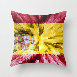 Extruded Flag of Spain Throw Pillow