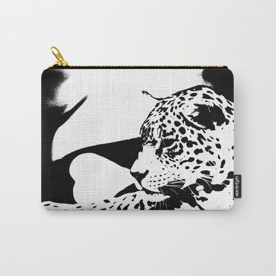 Black And White Wildcat  Carry-All Pouch