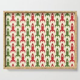 Retro Rockets in Christmas Colors - Midcentury Modern Atomic Era Space Age Pattern in 1950s Green, Xmas Red, and Cream Serving Tray
