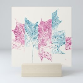 Cyan & Magenta Leaf Collage 01 Mini Art Print