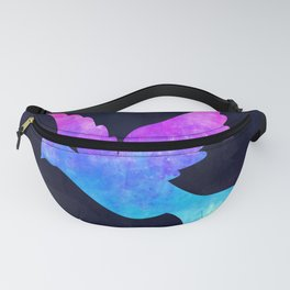DOLPHIN IN SPACE // Animal Graphic Art // Watercolor Canvas Painting // Modern Minimal Cute Fanny Pack