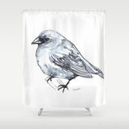 Bird on a Branch, watercolor Shower Curtain