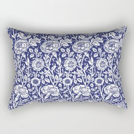 "William Morris Floral Pattern | ""Pink and Rose"" in Navy Blue and White Rectangular Pillow"
