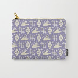 Mid Century Modern Boomerang Abstract Pattern Lavender and Tan 261 Carry-All Pouch