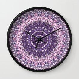 Purple Lace Mandala Wall Clock