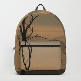 Landscape with Mountains - Tree and Fog Backpack