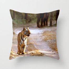 TIGER ON TRACK Throw Pillow