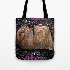 Yorkie Love in Black Tote Bag